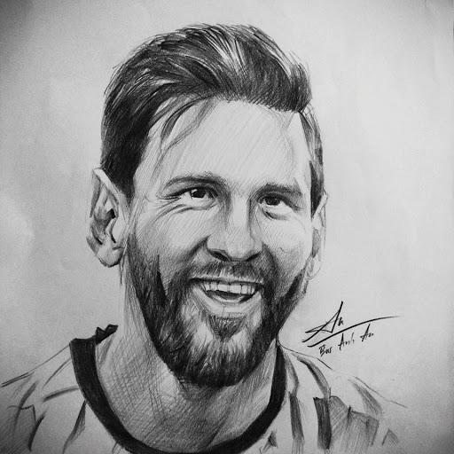 tranh vẽ chì Messi