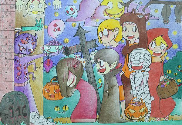 tranh vẽ chủ đề lễ hội halloween