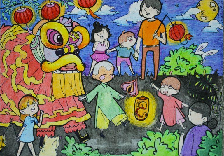 tranh vẽ chủ đề lễ hội trung thu cho học sinh lớp 8-9