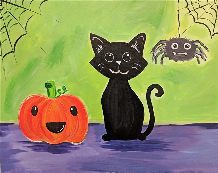 tranh vẽ con mèo ngày halloween