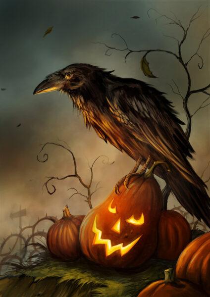 tranh vẽ con quạ halloween