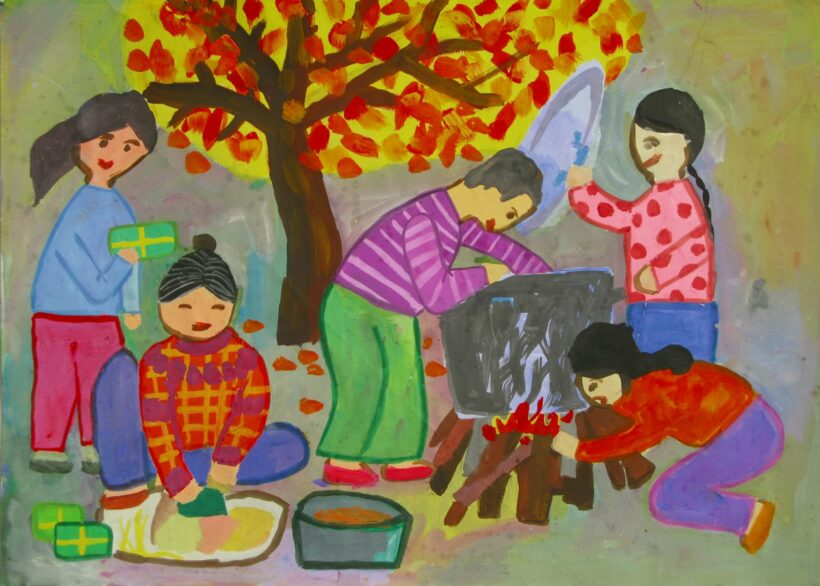 tranh vẽ đề tài gia đình ngày tết gói bánh chưng