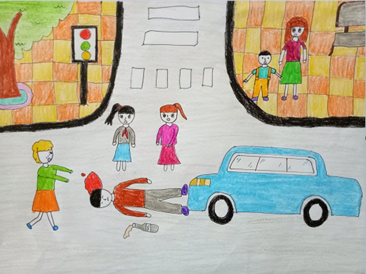 tranh vẽ đề tài giao thông tai nạn xảy ra trên đường khi uống rượu