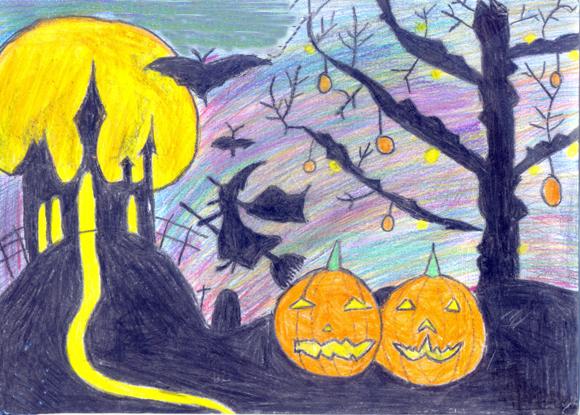 tranh vẽ đề tài halloween đơn giản đẹp