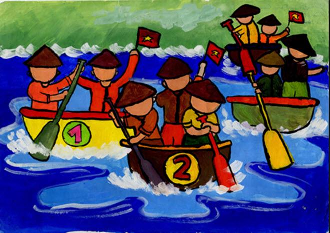 tranh vẽ đề tài lễ hội đua thuyền đơn giản đẹp
