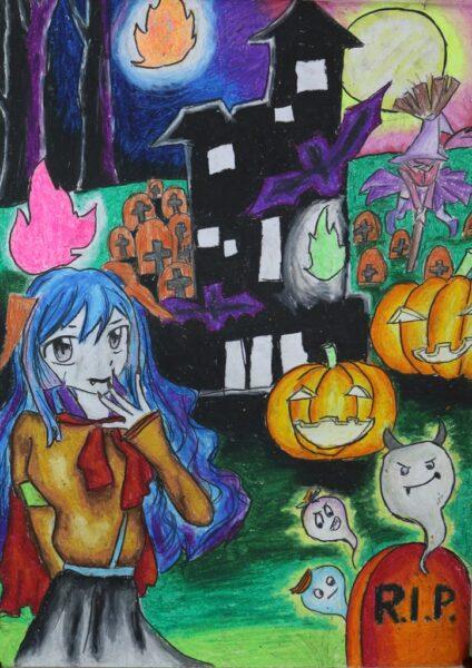 tranh vẽ đề tài lễ hội Halloween của học sinh