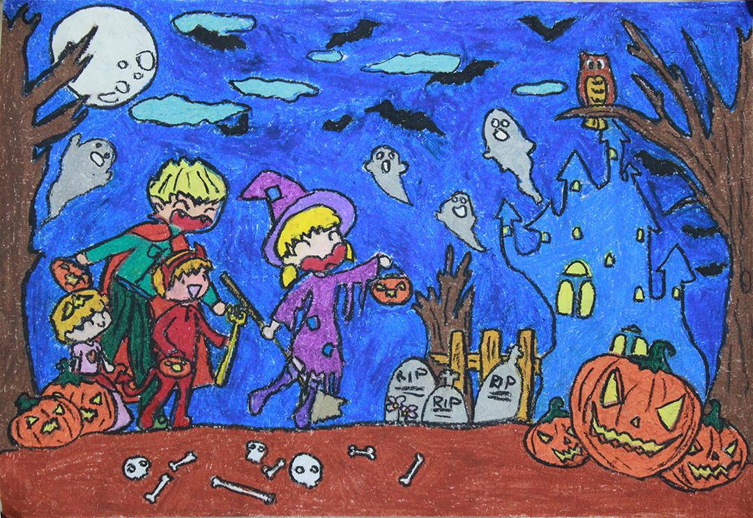 tranh vẽ đề tài lễ hội Halloween lớp 9