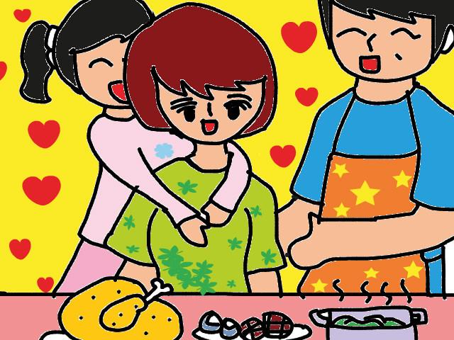 tranh vẽ gia đình chuẩn bị bữa ăn