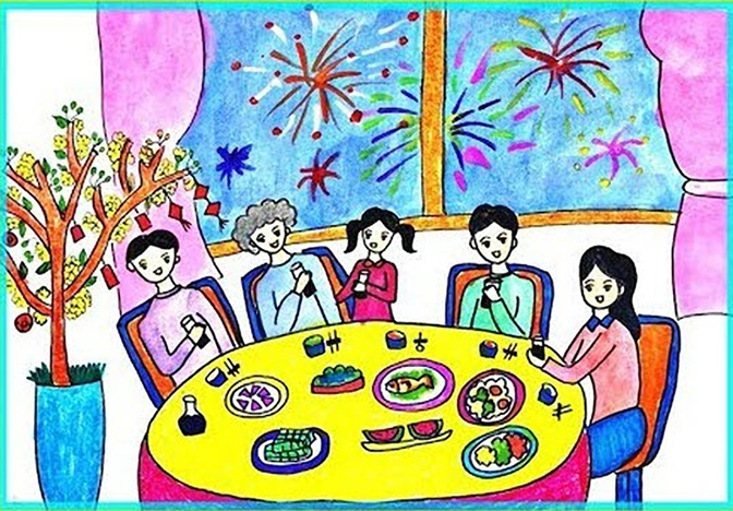 tranh vẽ gia đình ngày tết đêm giao thừa