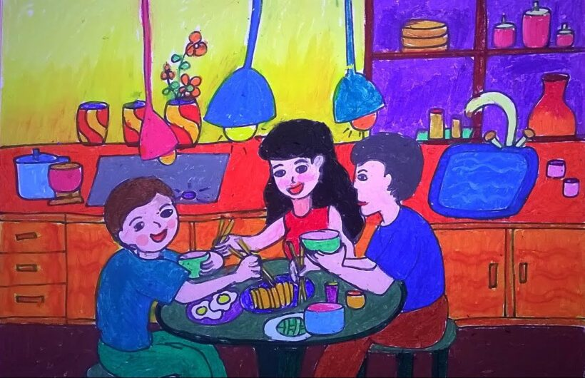 tranh vẽ gia đình trong bữa cơm hàng ngày