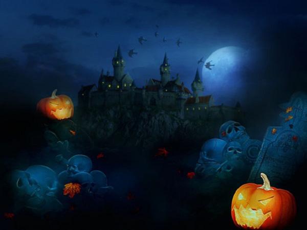 tranh vẽ halloween và lâu đài ma
