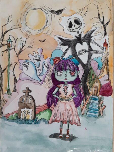 tranh vẽ lễ hội hóa trang halloween của học sinh