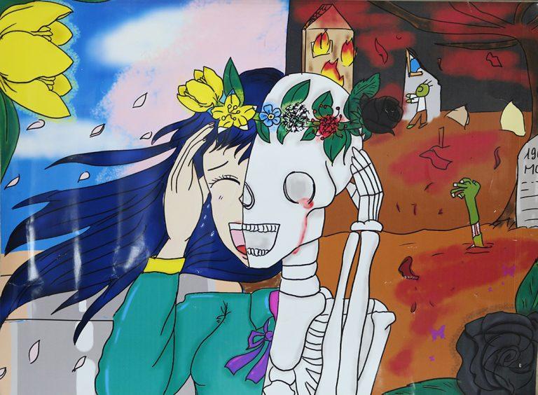 tranh vẽ lễ hội hóa trang Halloween rùng rợn
