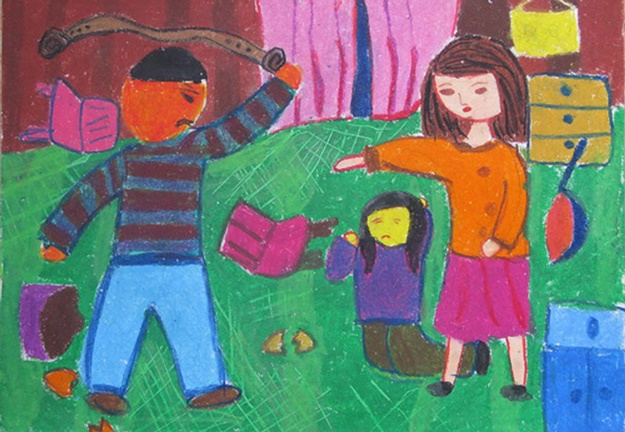tranh vẽ lên án bạo lực gia đình