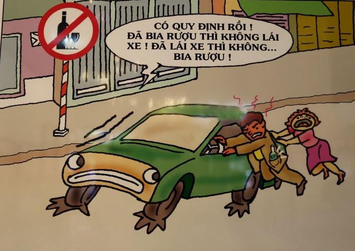 tranh vẽ nhắc nhở quy định giao thông