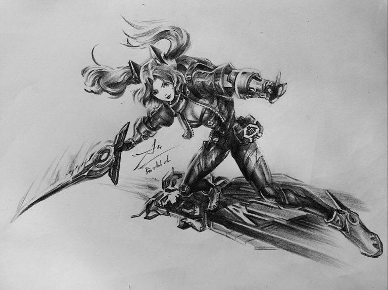 tranh vẽ nhân vật anime girl cầm kiếm bằng bút chì