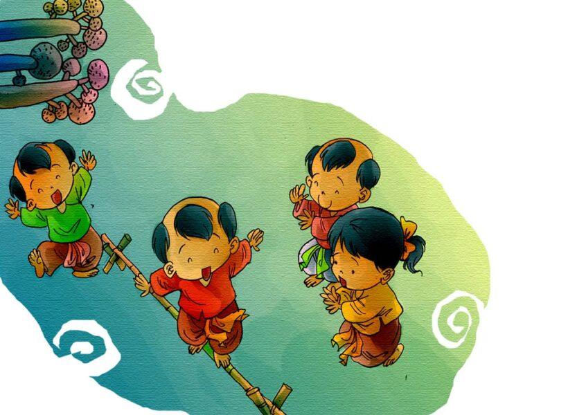 tranh vẽ trò chơi dân gian đi cầu khỉ
