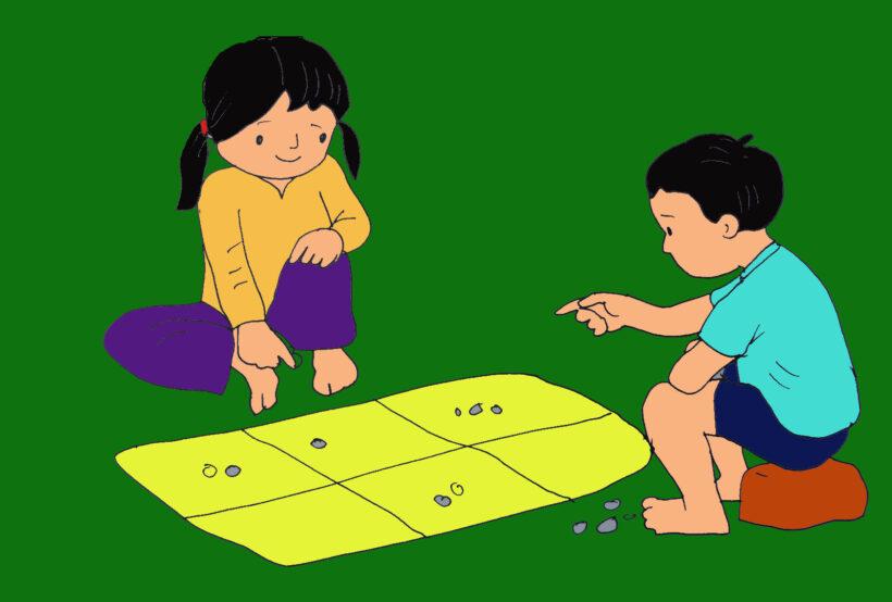 tranh vẽ trò chơi dân gian ô ăn quan