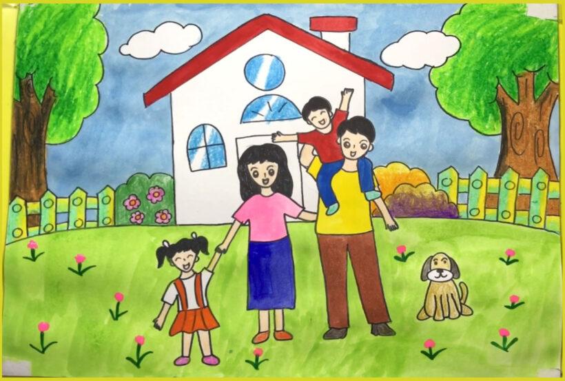 tranh vẽ về đề tài gia đình đẹp