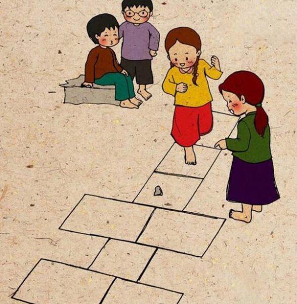 tranh vẽ về đề tài trò chơi dân gian nhảy ô