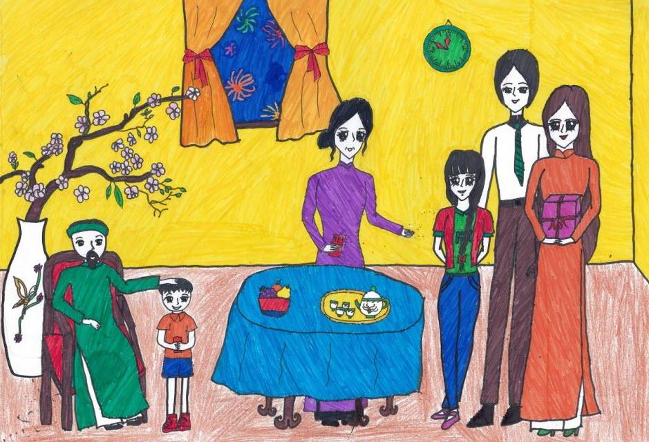 vẽ tranh chủ đề gia đình ngày tết đón xuân