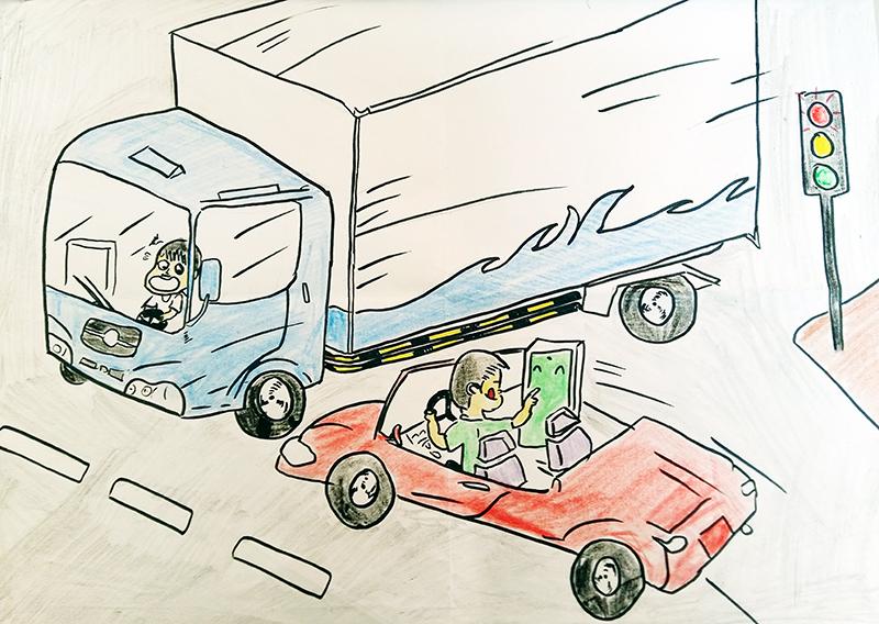 vẽ tranh đề tài an toàn giao thông chú ý cảnh giác khi lái xe