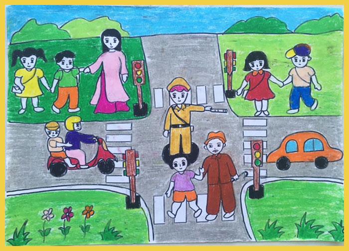 vẽ tranh đề tài an toàn giao thông đẹp đơn giản