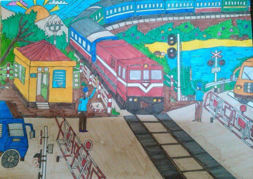 vẽ tranh đề tài an toàn giao thông đường sắt và đường bộ