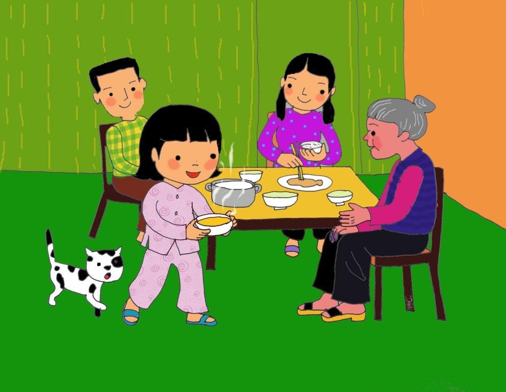 vẽ tranh đề tài gia đình cháu mời cơm bà