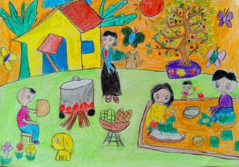 vẽ tranh đề tài gia đình gói bánh chưng tết
