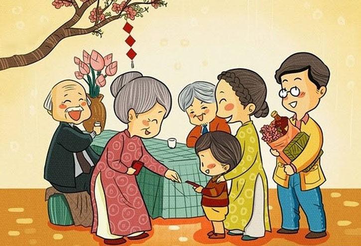 vẽ tranh đề tài gia đình vui vẻ lì xì ngày tét