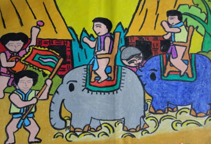 vẽ tranh đề tài lễ hội đua voi