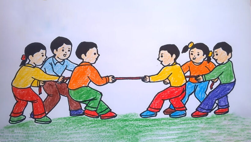 vẽ tranh đề tài lễ hội kéo co