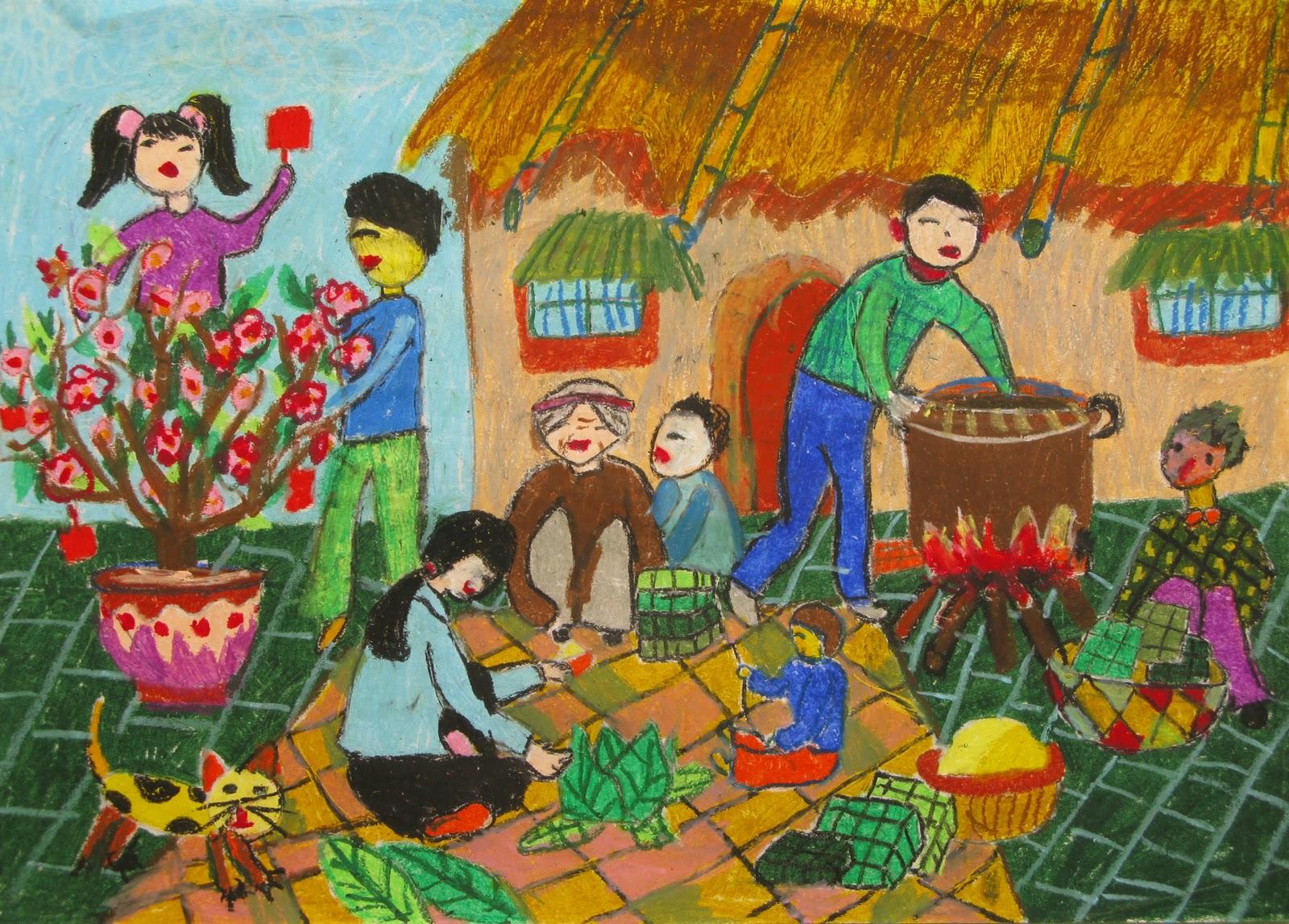 vẽ tranh đề tài lễ hội ngày tết cổ truyền