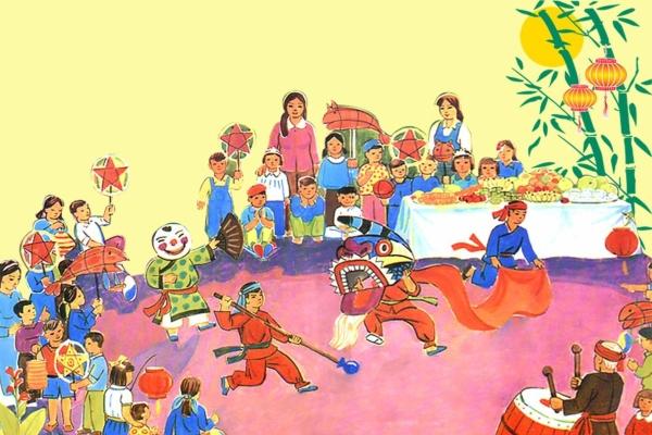vẽ tranh đề tài lễ hội tết trung thu