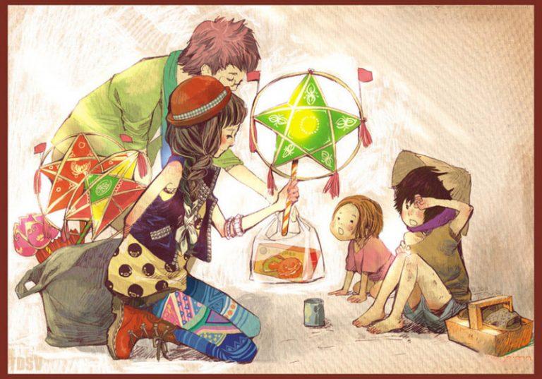 vẽ tranh đề tài lễ hội trung thu anime