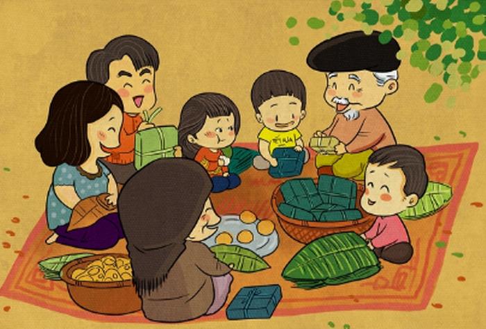 Vẽ tranh đề tài ngày tết gia đình gói bánh chưng