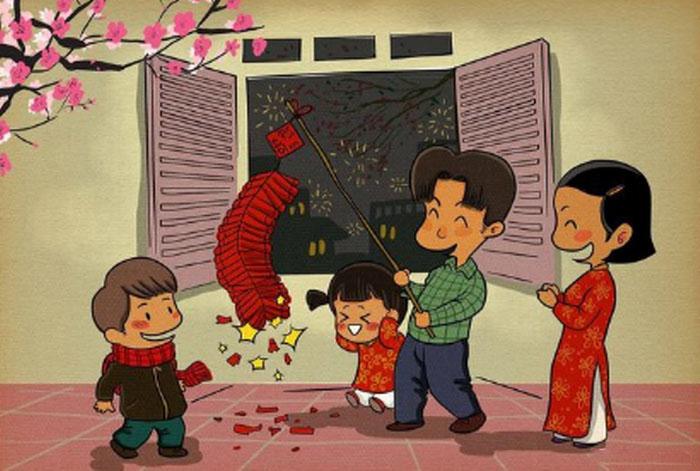 vẽ tranh gia đình đốt pháo ngày tết