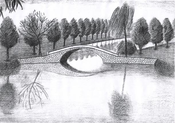 vẽ tranh phong cảnh sông quê bằng bút chì