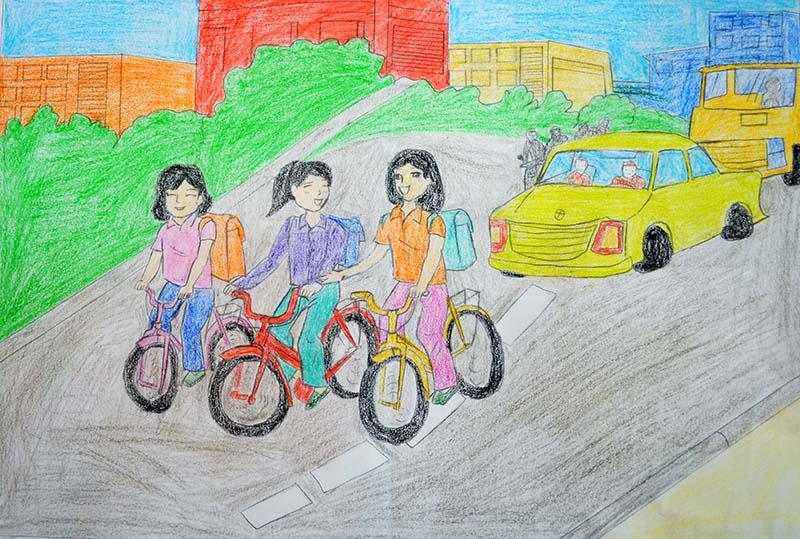 vẽ tranh thể hiện sự sai phạm luật giao thông của các bạn học sinh