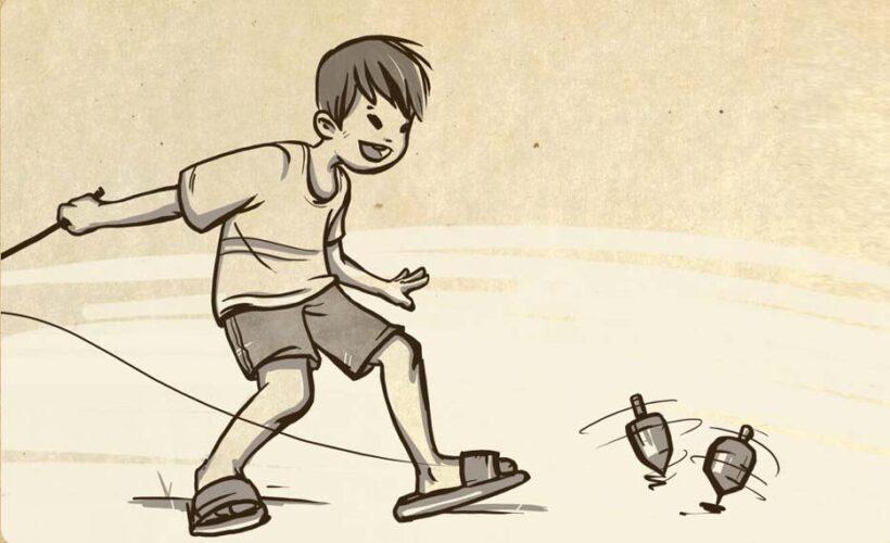 vẽ tranh trò chơi dân gian chơi gụ