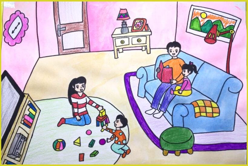 vẽ tranh về đề tài gia đình của em