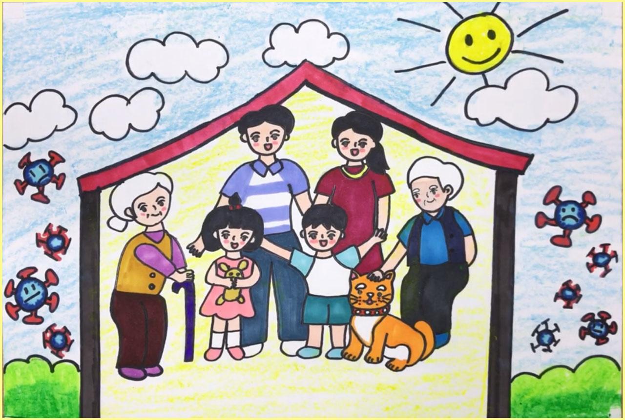 vẽ tranh về đề tài gia đình em chống dịch virus
