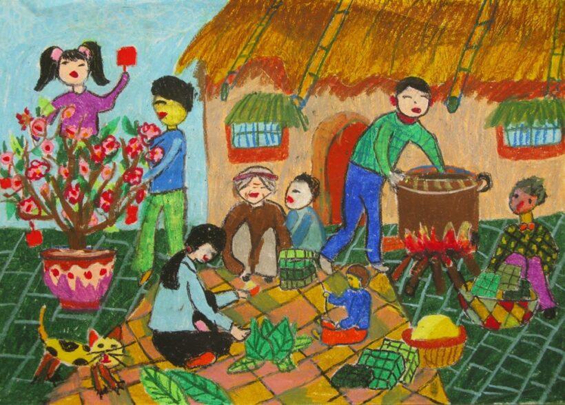 vẽ tranh về đề tài gia đình ngày tết