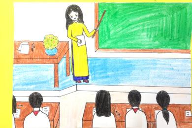 vẽ tranh về đề tài học tập đẹp đơn giản nhất