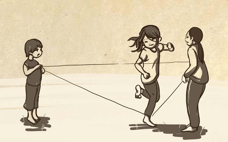 vẽ tranh về đề tài trò chơi dân gian nhảy dây