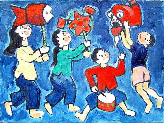 vẽ tranh về đề tài trò chơi dân gian rước đèn lễ hội