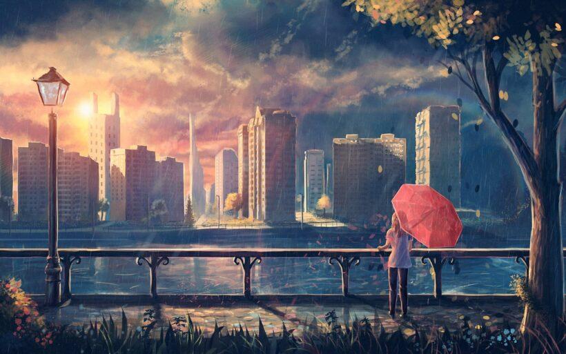 Ảnh anime phong cảnh thành phố buồn hoàng hôn