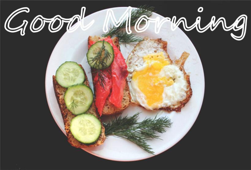 ảnh chúc buổi sáng với đồ ăn nhẹ