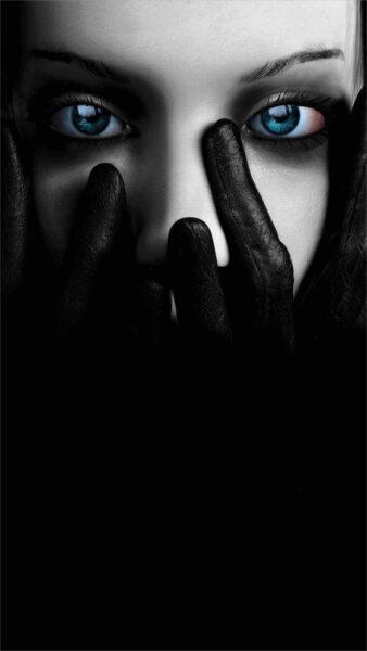 ảnh nền điện thoại đen trắng cô gái và đôi mắt